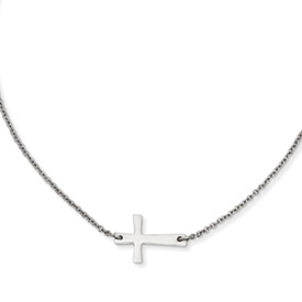 Stainless Steel Polished Sideways Cross Necklace