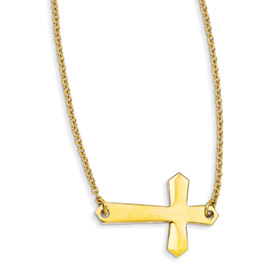 Stainless Steel Yellow IP-plated Sideways Cross 20in Necklace