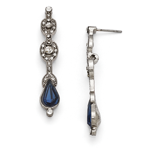 Silver-Tone Downton Abbey Blue & Clear Glass Post Drop Earrings