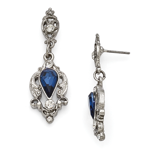 Silver-Tone Downton Abbey Pear Shaped Blue & Glass Post Earrings