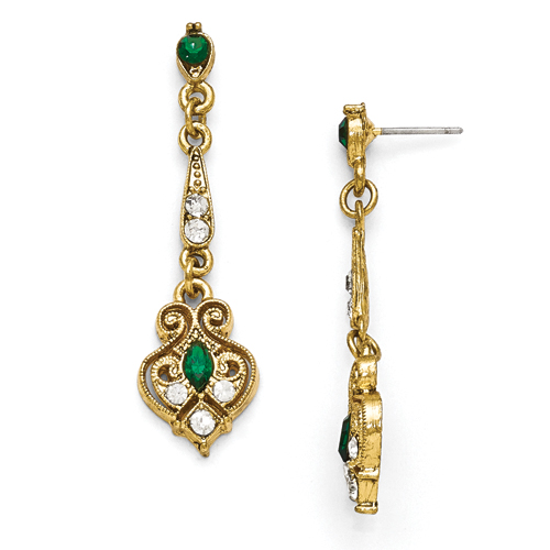 Gold-Tone Downton Abbey Green & Clear Glass Filigree Post Earrin
