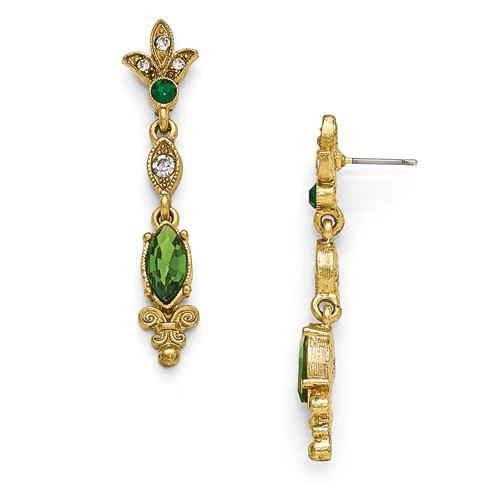 Gold-Tone Downton Abbey Green & Clear Glass Post Drop Earrings