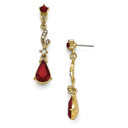 Gold-Tone Downton Abbey Red & Clear Glass Post Earrings