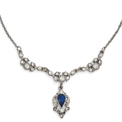 Silver-Tone Downton Abbey Blue & Clear Glass W/3in Ext Necklace