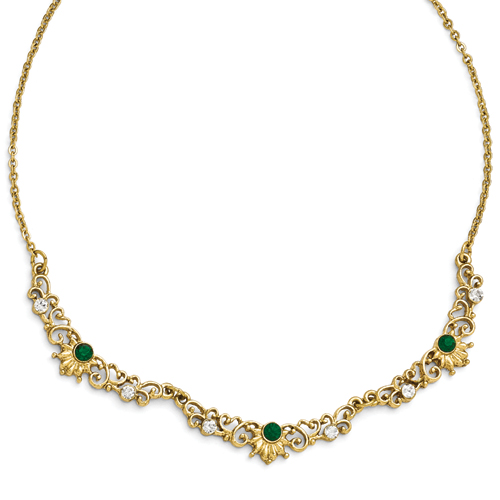 Gold-Tone Downton Abbey Green/Clear Glass W/3inext Link Necklace