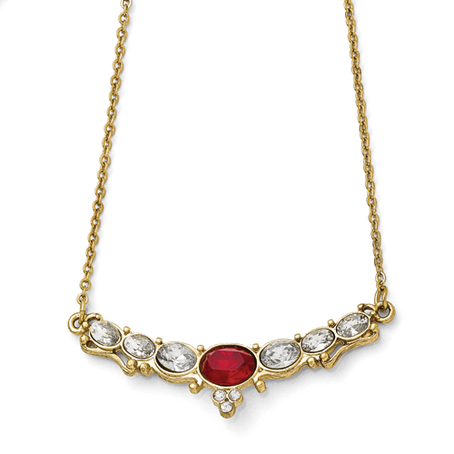 Gold-Tone Downton Abbey Red & Clear Glass W/3in Ext Necklace