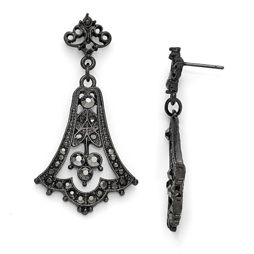 Black-Plated Downton Abbey Black Glass Post Fleur Drop Earrings