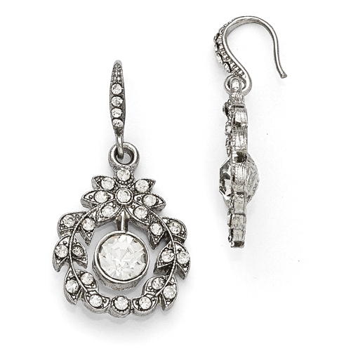 Silver-Tone Downton Abbey Clear Glass Fishhook Dangle Earrings
