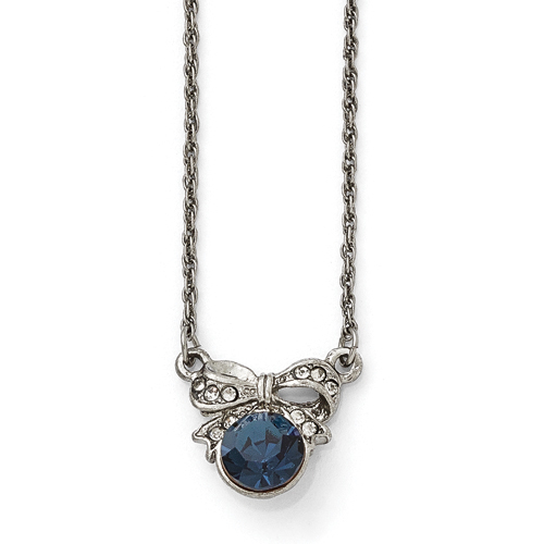 Silver-Tone Downton Abbey Blue Crystal & Glass Bow 3in Ext Neckl