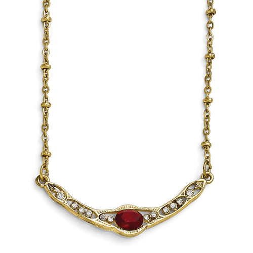 Gold-Tone Downton Abbey Red & Clear Glass 16in W/3in Ext Necklac