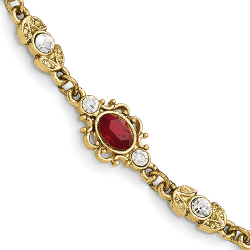 Gold-Tone Downton Abbey Red & Clear Crystal 7.5in Bracelet