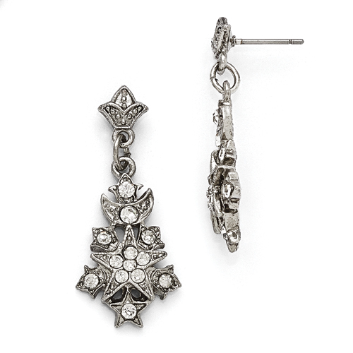 Silver-Tone Downton Abbey Clear Glass Snowflake Post Earrings