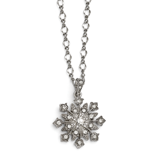 Silver-Tone Downton Abbey Clear Glass Snowflake 3in Ext Necklace