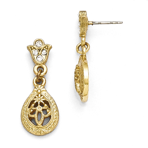 Gold-Tone Downton Abbey Clear Crystal Post Earrings