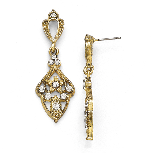 Gold-Tone Downton Abbey Clear Glass Post Earrings