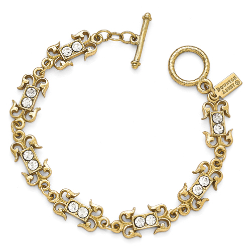 Gold-Tone Downton Abbey Clear Crystal 7.5in Toggle Bracelet