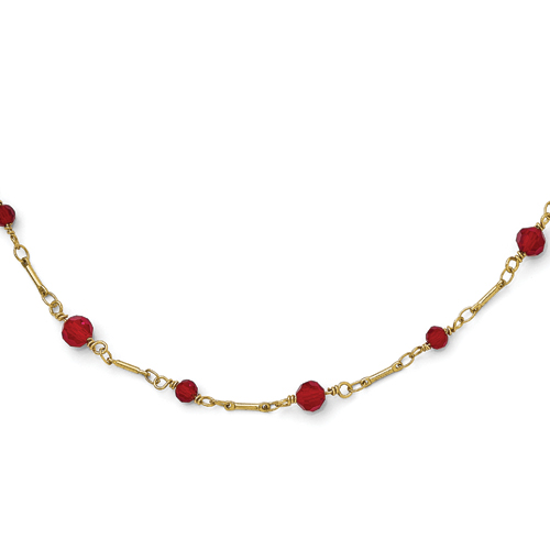 Gold-Tone Downton Abbey Red Glass 36in Necklace
