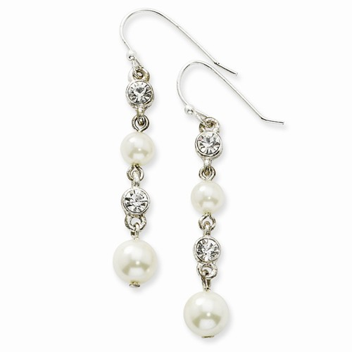 Silver-tone Glass & Crystal Beads Dangle Earrings