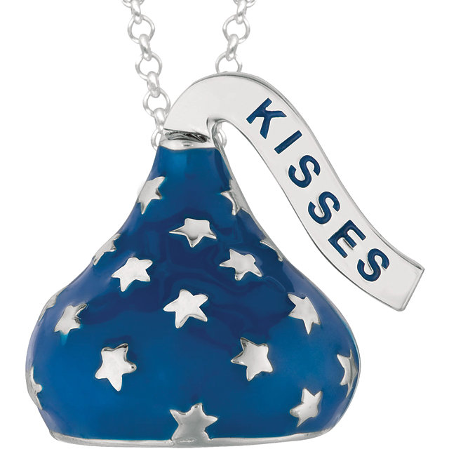 "Sterling Silver HERSHEY'S KISSES Blue Enamel Stars 18"" Necklace"
