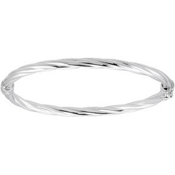 4mm Twisted Design Sterling Silver Hinged Bangle Bracelet
