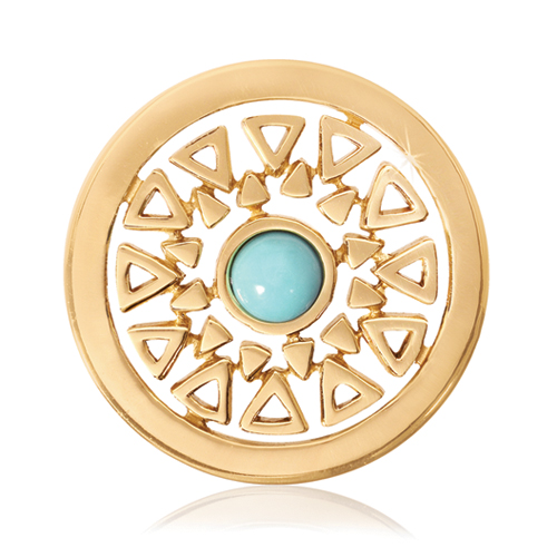 Nikki Lissoni Gold-Tone 23.6mm Turquoise Inner Beauty Coin