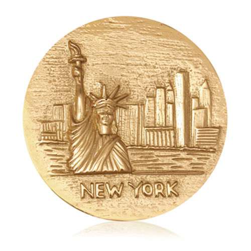 Nikki Lissoni Gold- Tone 43mm New York - Statue Of Liberty Coin