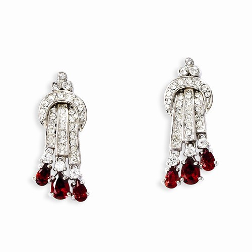 Kennedy Silver-tone Swarovski Crystal Red Raindrop Post Earrings