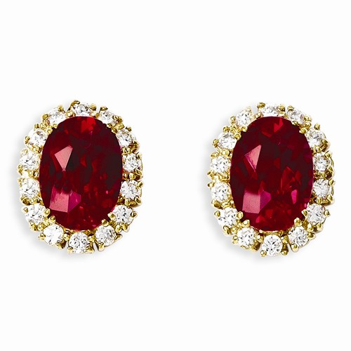 Kennedy Gold-plated Red CZ Earrings