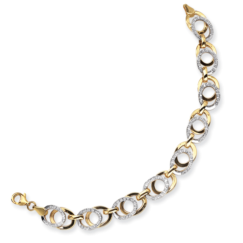 14k Two-Tone Diamond Fascination 7.5in Link Bracelet