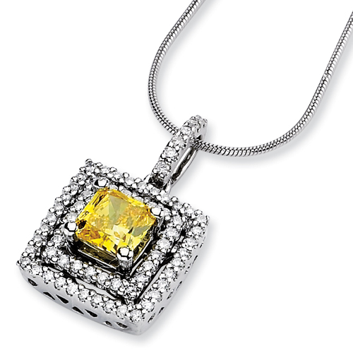 14kw Emma Grace Sq. Radiant Cultured Diamond Pendant Semi-Mount