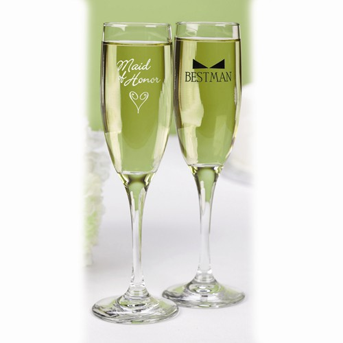 Maid of Honor with Heart & Bow Tie Glass Toasting Flutes