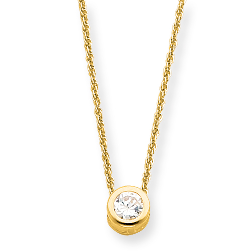 18in Gold-Plated Round CZ Necklace