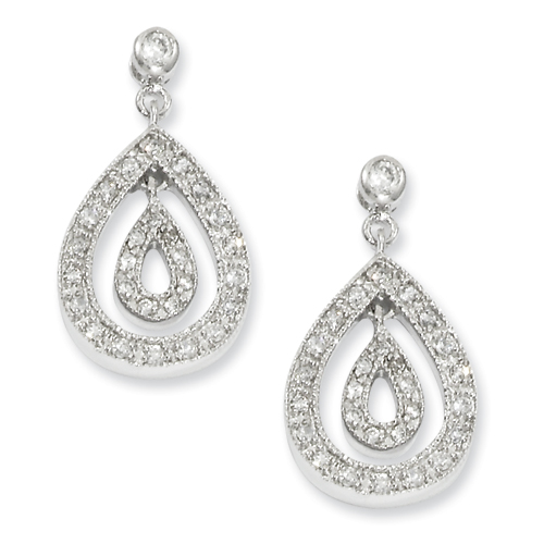 Rhodium-Plated Pear-Shape Pave Chandelier Earrings