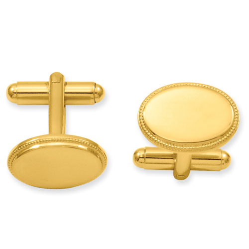 Gold-Plated Oval Beaded Cuff Links
