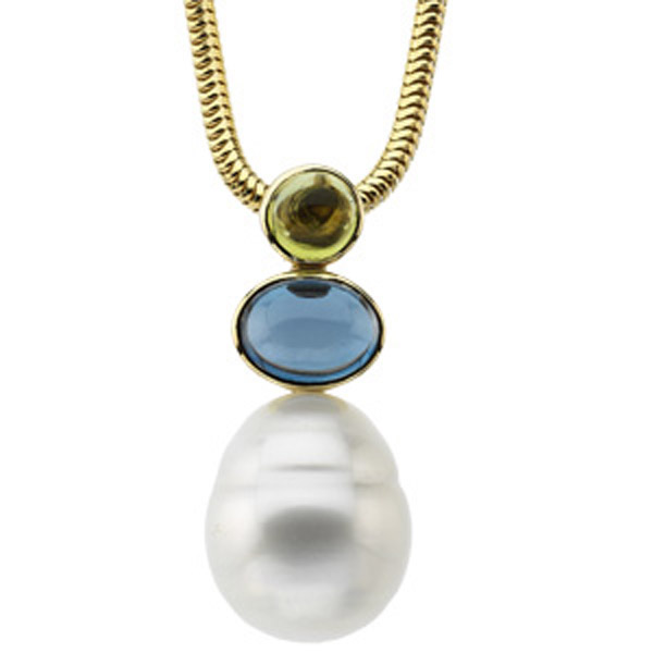South Sea Cultured Pearl, Peridot & Topaz Pendant