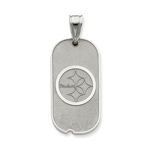 Sterling Silver Pittsburgh Steelers Lg Dog Tag W/Logo Charm