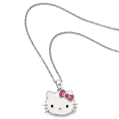 Sterling Silver W/GP Accent Hello Kitty® Enamel W/1&2in Ext. Nec