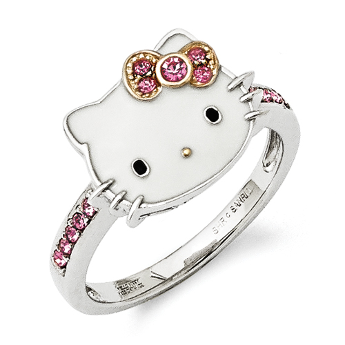 Sterling Silver W/GP Accent Hello Kitty® Enamel/Pink Crystal Rin