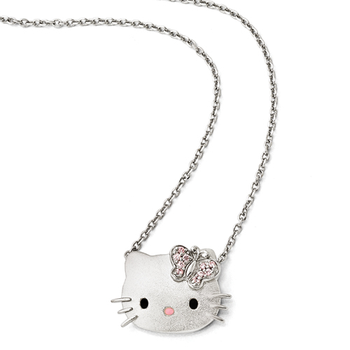 Sterling Silver Hello Kitty® Pink Swarovski Elements 18in Neckla