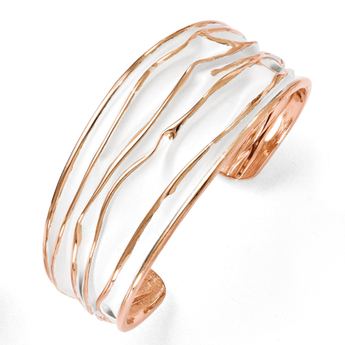 Leslie's SS Rose Gold-Plated Medium Tappered Scrunch Bangle