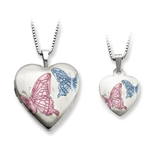 SSilver Satin Enamel Butterflies Heart Locket & Pendant Set