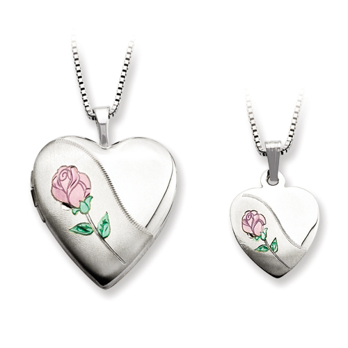 SSilver Polished And Satin Rose Heart Locket & Pendant Set