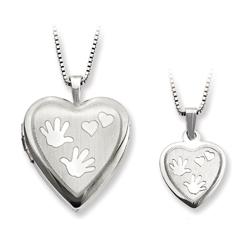 SSilver Polished Satin Hand And Hearts Locket & Pendant Set
