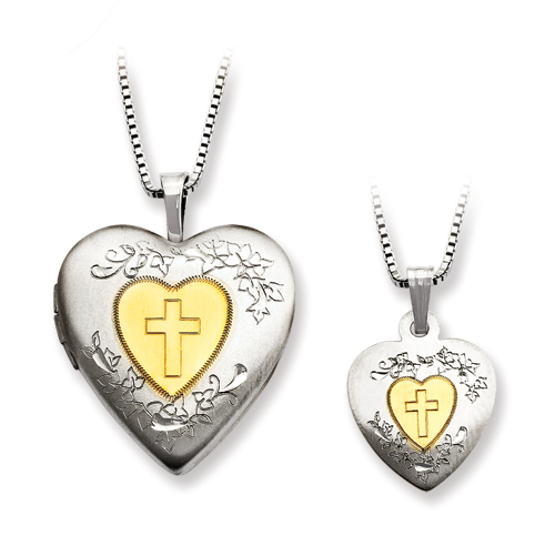 Sterling Silver Gold-Plated Heart Locket & Pendant Set