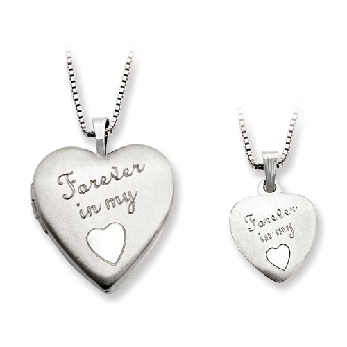 SSilver Polished Satin Forever In My Heart Locket & Pendant Set