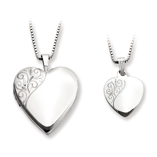 Sterling Silver Polished Swirl Design Heart Locket & Pendant Set