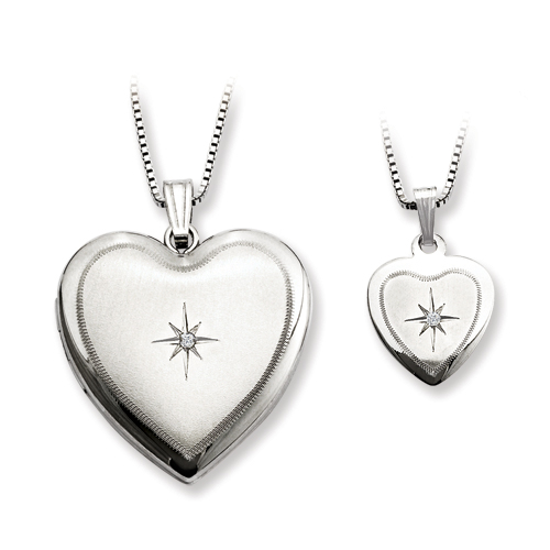 SSilver Diamond Polished Satin Heart Locket & Pendant Set