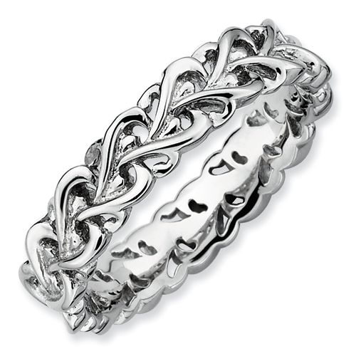 SSilver Stackable Expressions Polished Intertwined Heart Ring