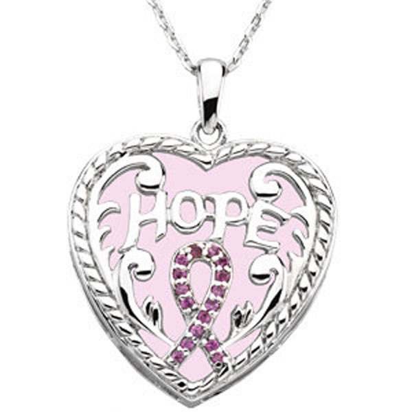 "Breast Cancer Awareness Pendant & Chain ""Hope Heart"""