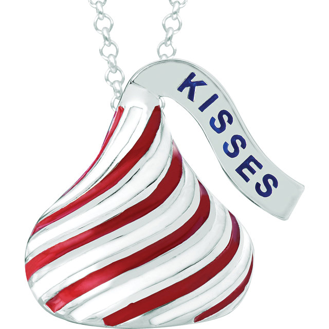 "SSilver HERSHEY'S KISSES Red & White Enamel Stripes 18"" necklace"
